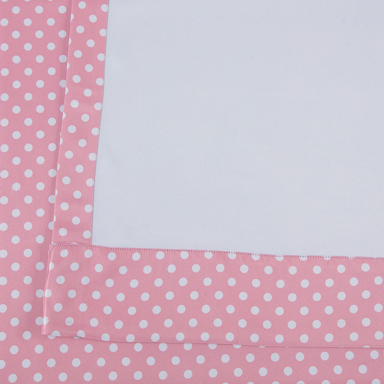 Pink Polka Dot Blackout Back Tab Pole Pocket Curtains