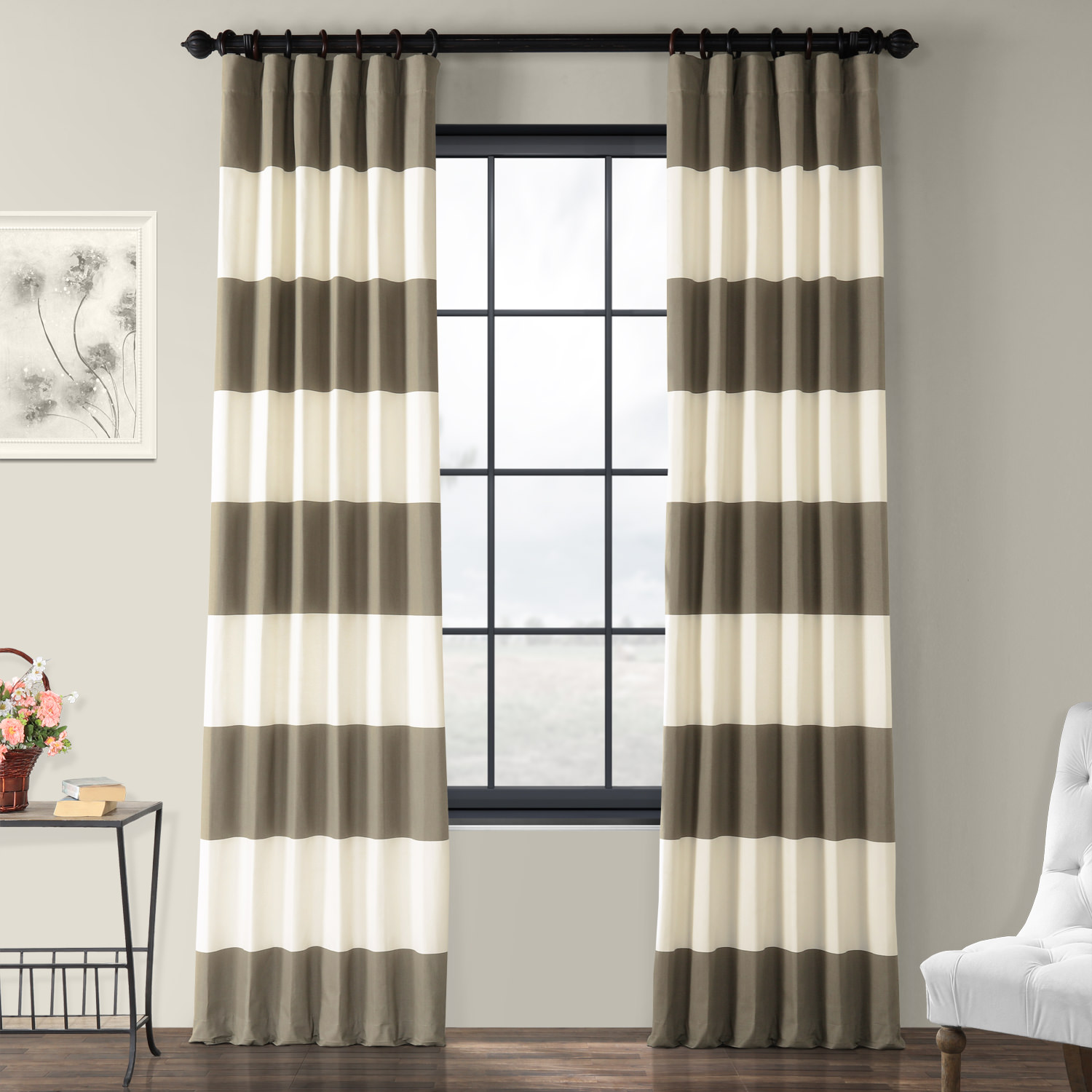 off white dining chair covers colored kitchen chairs thunder tan and horizontal stripe curtain