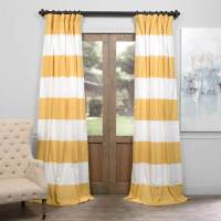 Quince Yellow and Off White Horizontal Stripe Curtain