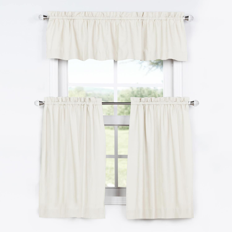 kitchen tier curtains barn sink fresh popcorn solid cotton curtain and valance set