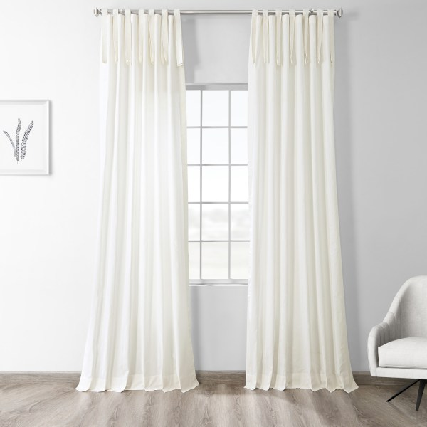 Cotton Tie Top Curtain Panels