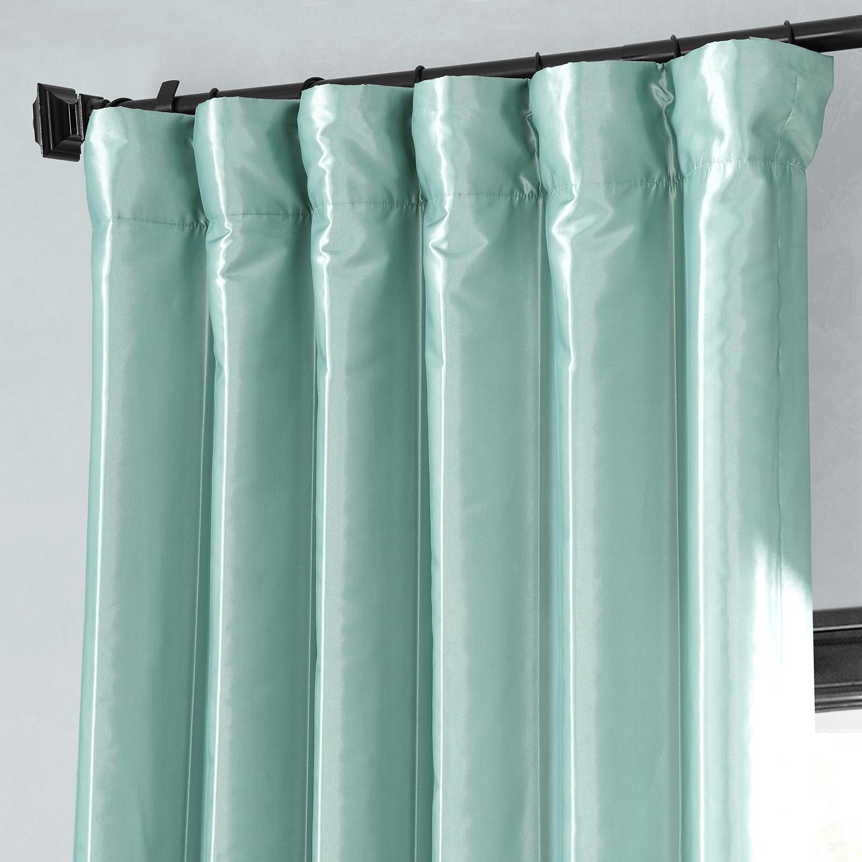 Robins Egg Blackout Faux Silk Taffeta Curtains Drapes
