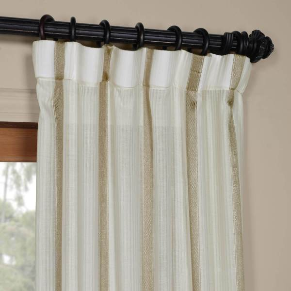 Striped Sheer Curtains Gold