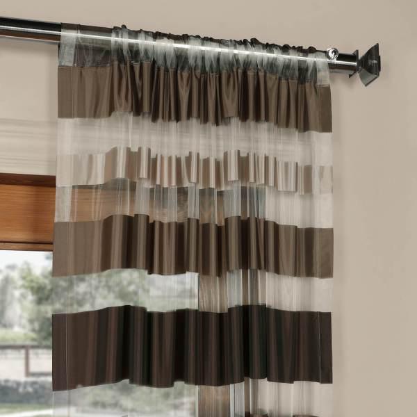 Horizontal Stripe Curtain with Sheer