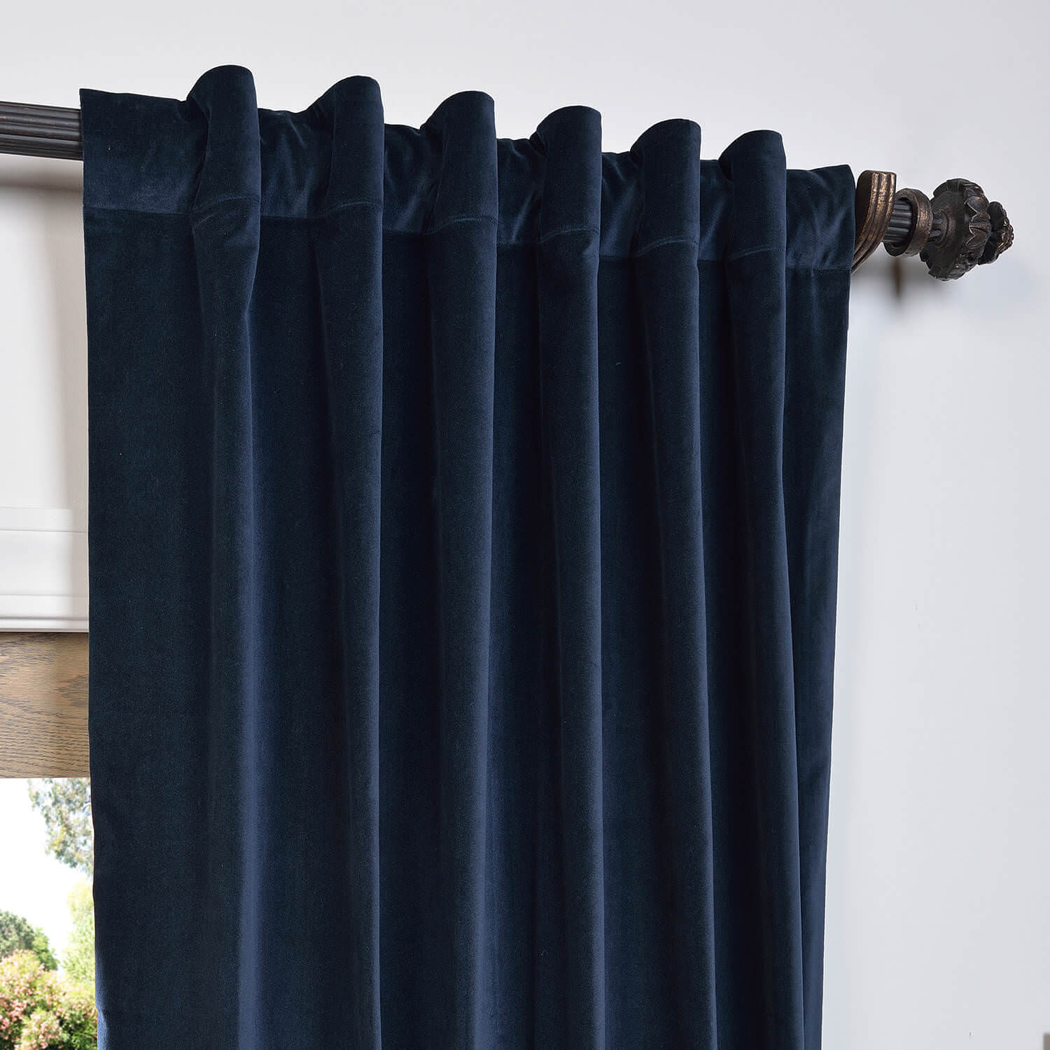 grommet kitchen curtains ready made cabinets buy navy vintage cotton velvet curtain & drapes ...