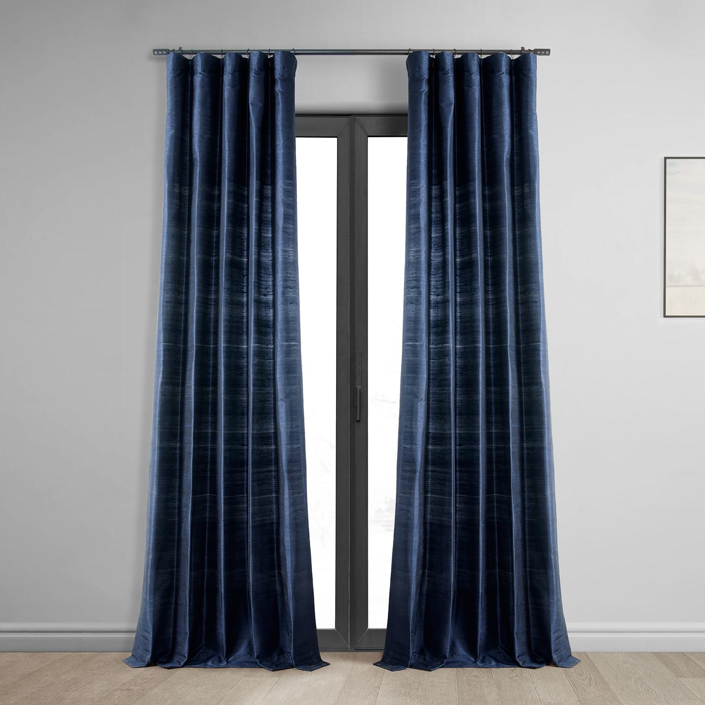 Navy Silk Curtains Half Price Drapes