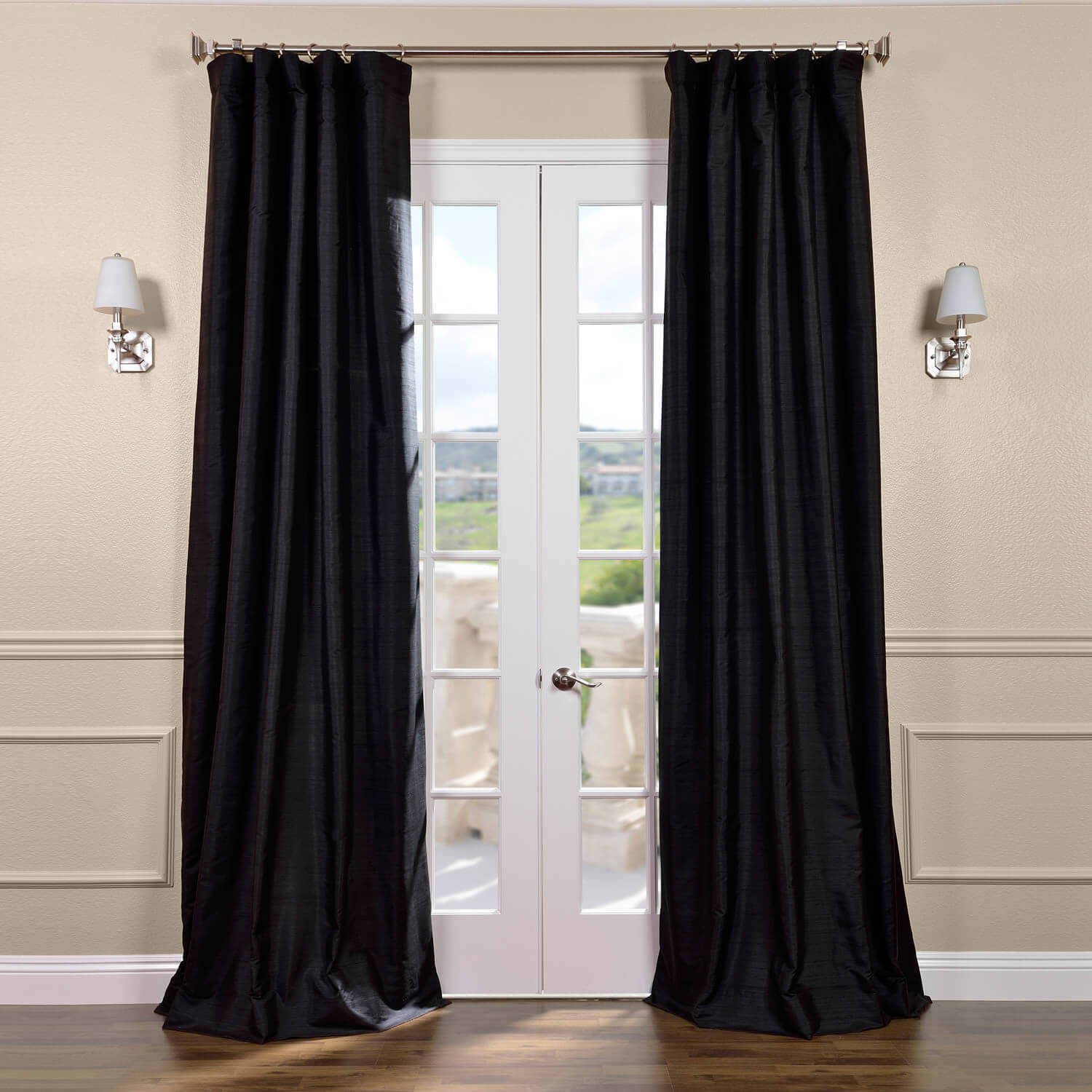 Black Silk Curtains Half Price Drapes