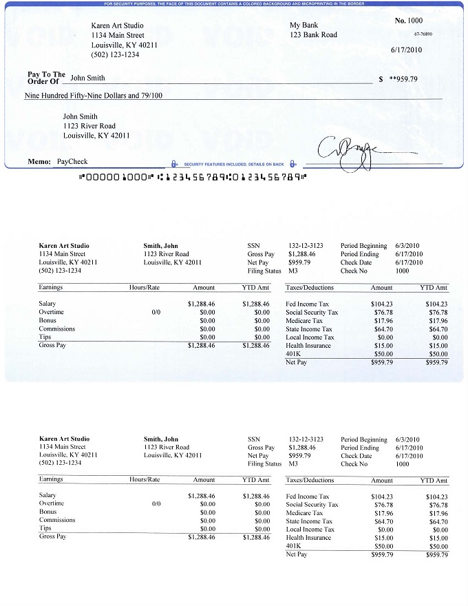 Payroll Checks and Stubs Printed by ezPaycheck Software