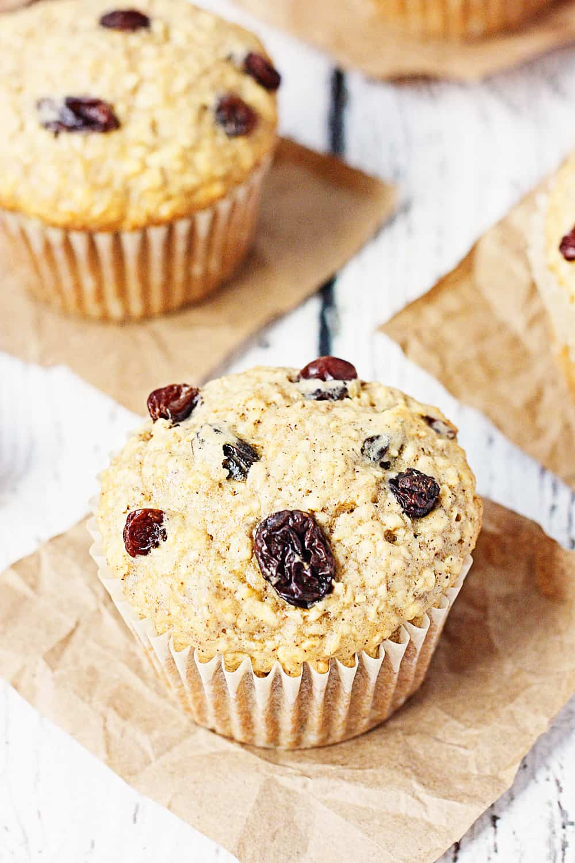 Oatmeal Raisin Cake Mix Muffins Half Scratched