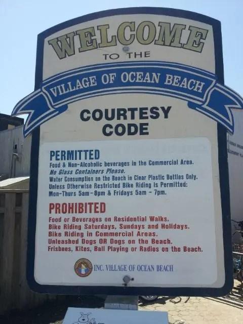 Ocean Beach Rules Sign