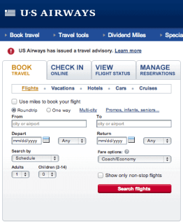 US Airways Home Page