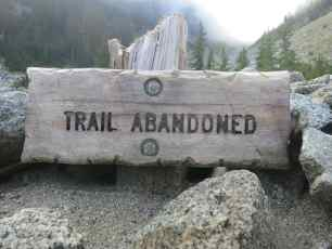 PCT Trail Abandoned Sign
