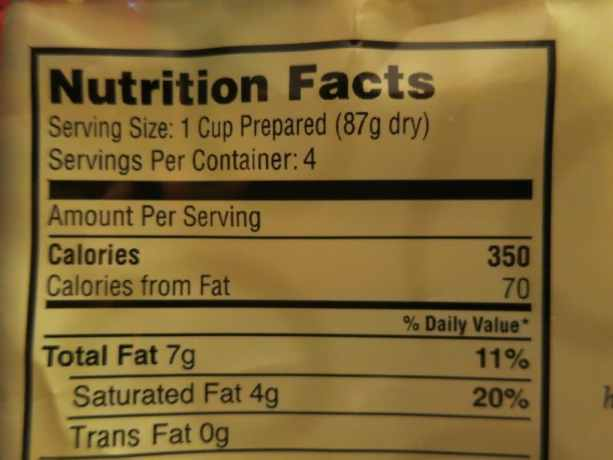 Bear Creek Nutritional Facts Label