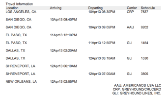 Greyhound New Orleans Itinerary