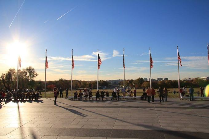 Washington DC Flags Sun