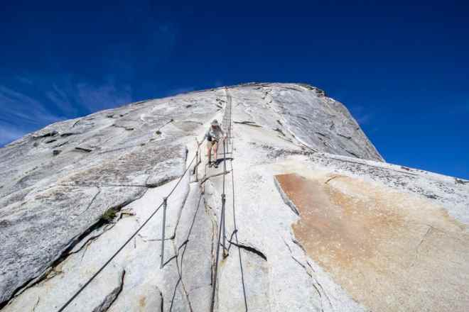 Looking Up Half Dome Cables