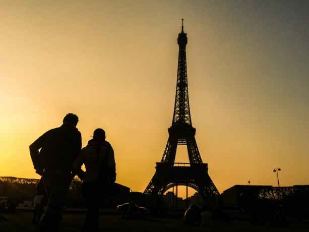 Eiffel Tower Sunset Shadows