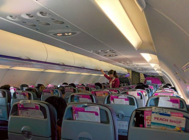 Inside Peach Airplane
