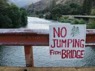 No Jumping Bridge Belden California PCT
