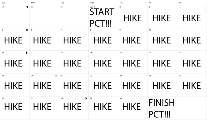One Month Thru-Hike Calendar