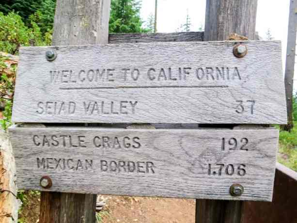PCT Oregon Border Mileage Sign