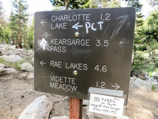 Kearsarge Pass PCT Sign