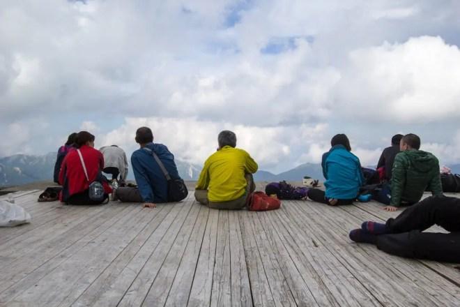 Okuhotaka Hikers Sitting