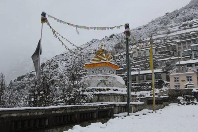 Nepal EBC Trek Namche Bazaar Snow