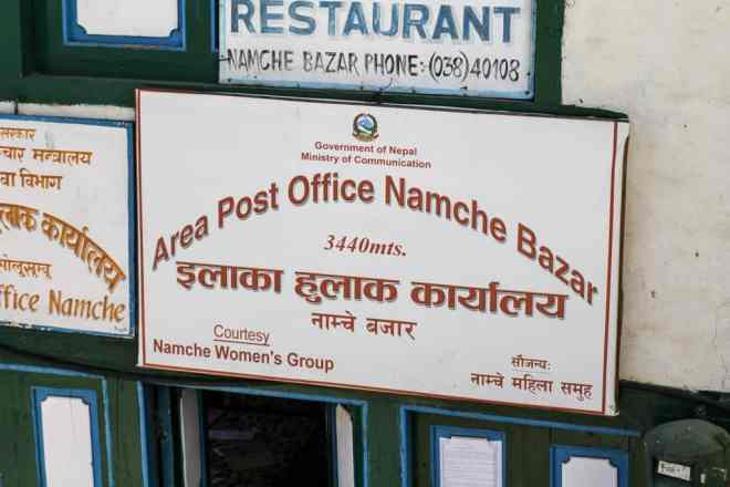 EBC Trek Namche Post Office Sign