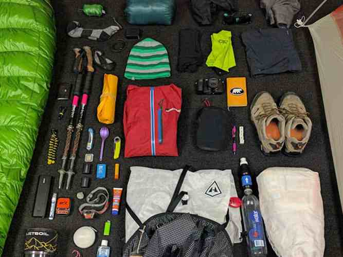 Backpacking gear Spread