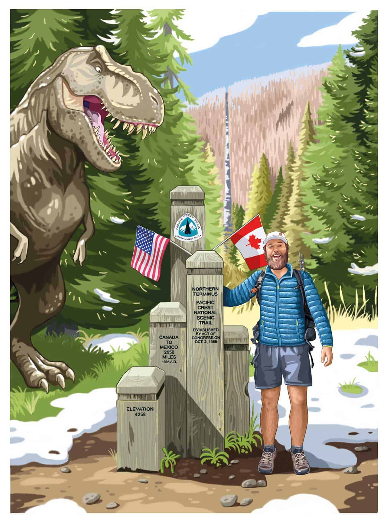 Pacific Crest Trail Northern Terminus Illustration Mac Dinosaur