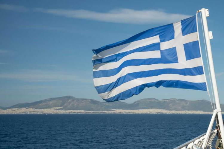 Greece Flag on Boat