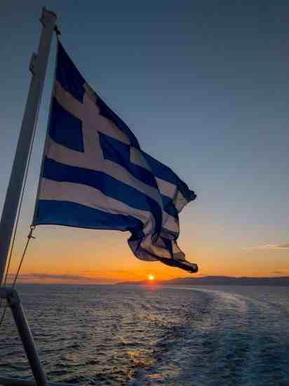 Boat Sunset Greek Flag