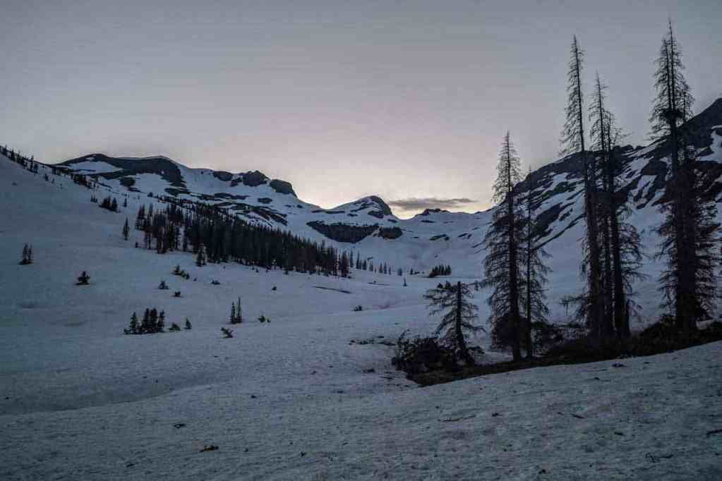Pre-sunrise hike in Colorado's San Juan Mountains