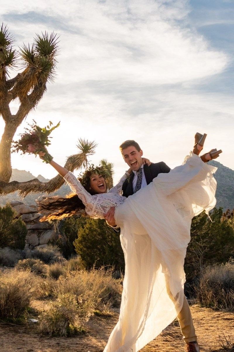 wedding in joshua tree national park couple celebrating their marriage for their elopement day