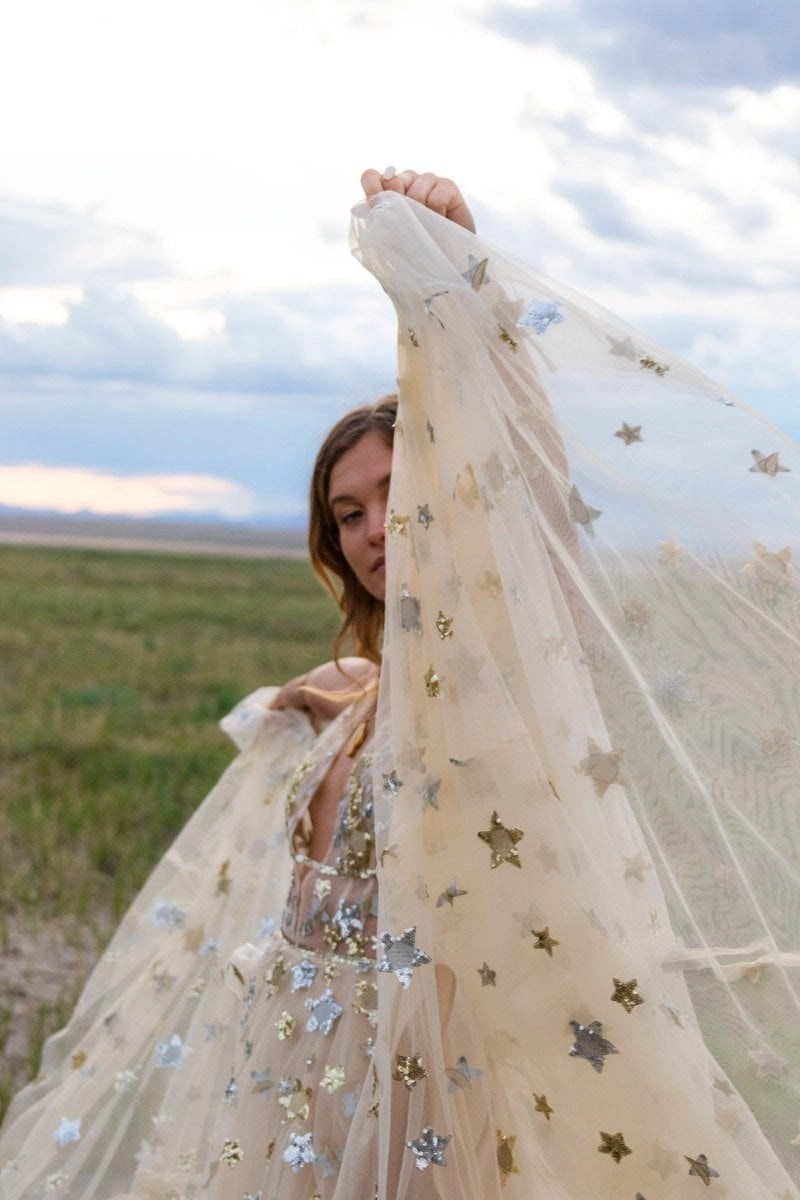 bride in a star dress