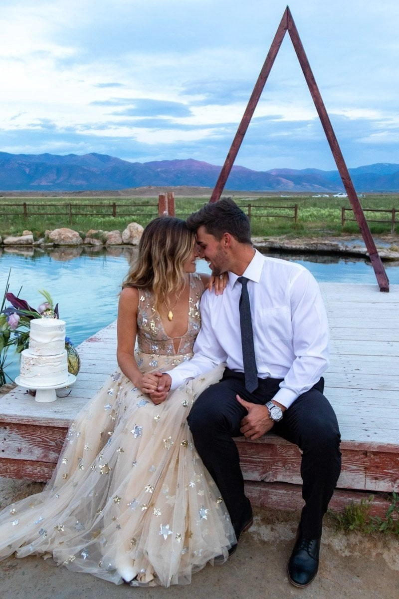 lovers on a dock in utah