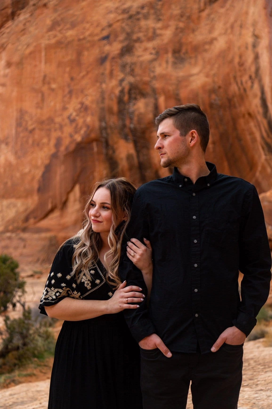Beautiful people holding one another in Utah