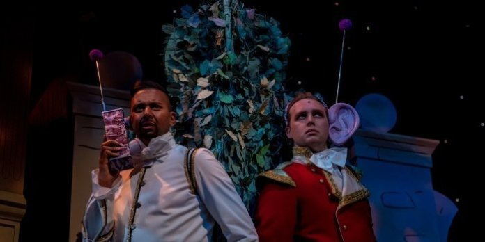 Andrew Prashad as Boutons and Ryan Brown as Prince Charmin in the Neptune Theatre production of Cinderella. Photo by Stoo Metz.