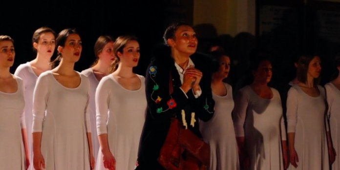 Sarain Fox (centre) and members of Xara Choral Theatre in the 2018 production of Fatty Legs.