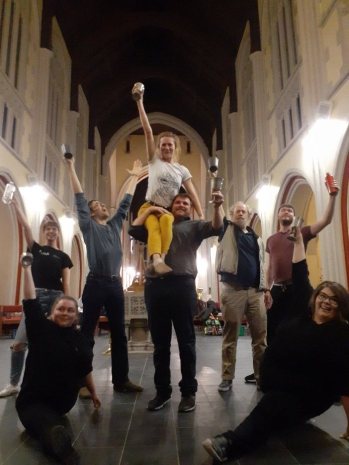 Members of the cast of Firebird: The Musical in rehearsal. Bottom L-R: Sara Courtney, Jessica Oliver. Top L-R: Sarah Smith, Raphael Glazov, Tamara Fifield (at the top), Nicholas Cox, Mike Chandler, Chris Bolton. Not pictured: Stephanie Mah, Cat McCluskey