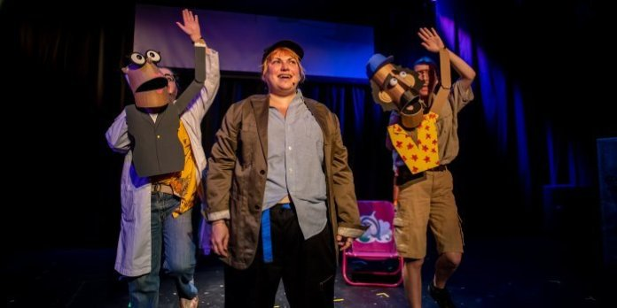 Amanda Mullally, Sarah Richardson and Alynne Sinnema in the Kick at the Dark Theatre production of Giant Killer Shark: The Musical. Photo by Stoo Metz.