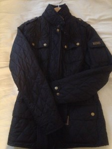 Blue quilted Barbour jacket