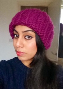 Rosy makeup and purple beret