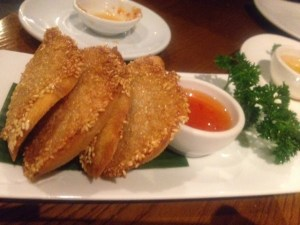 Prawn toast and sweet chilli dip