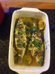 Baked sea bass in lemon and lime