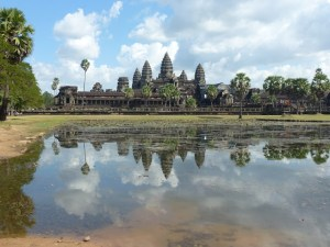 The view of Angkor Wat across the water