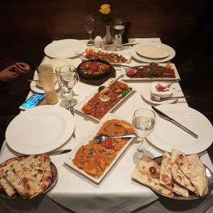 Curries and naan bread at an Indian reataurant