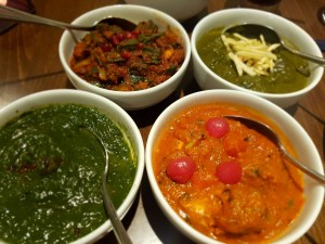 Chicken, saag and monkfish curries