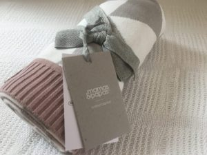Grey and purple baby blanket from Mamas and Papas
